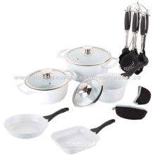 Cookware Set with Ceramic Coating, One Pair of Cotton Mittens and Seven Pieces of Kitchen Tools